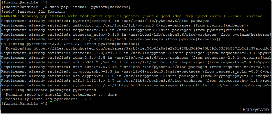 Ansible Authentifizierung mittels Kerberos