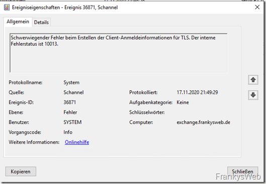 Exchange: Schannel 36888 / 36871 Fehler nach Erneuern des BackEnd Zertifikats