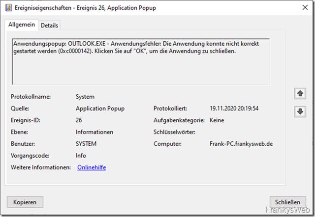 Office Programme starten nicht, Fehler 0xc0000142