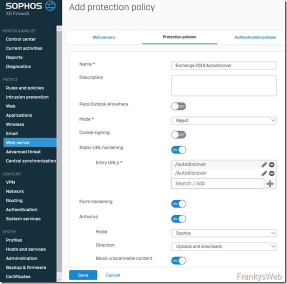 Sophos XG Protection Policy