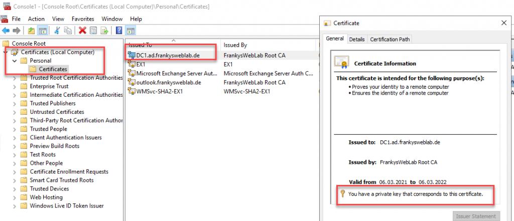 Übersicht des Zertifikats inkl. privaten Schlüssel