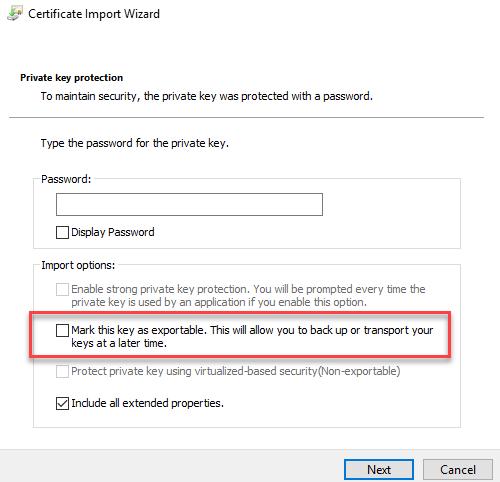 Zertifikate mit privaten Schlüssel übertragen (wenn privater Schlüssel nicht exportierbar)
