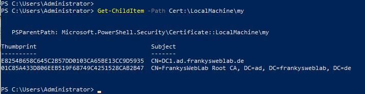 Zertifikate anzeigen mit PowerShell