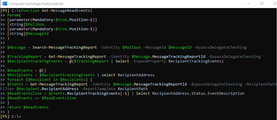 Exchange ReadTracking PowerShell