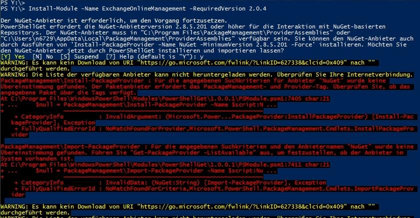 Installation der Exchange Online Shell auf älteren Betriebssystemen