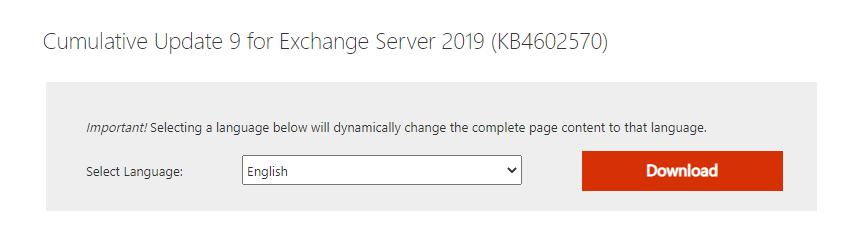 Exchange 2019 CU Download