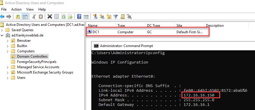IP-Adresse und Hostname eines Domain Controller ändern