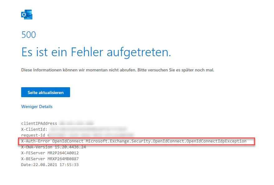 M365: HTTP 500 - Es ist ein Fehler aufgetreten