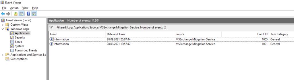 Emergency Mitigation Eventlog