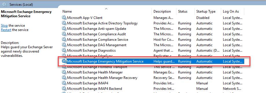 Microsoft Exchange Emergency Mitigation Service